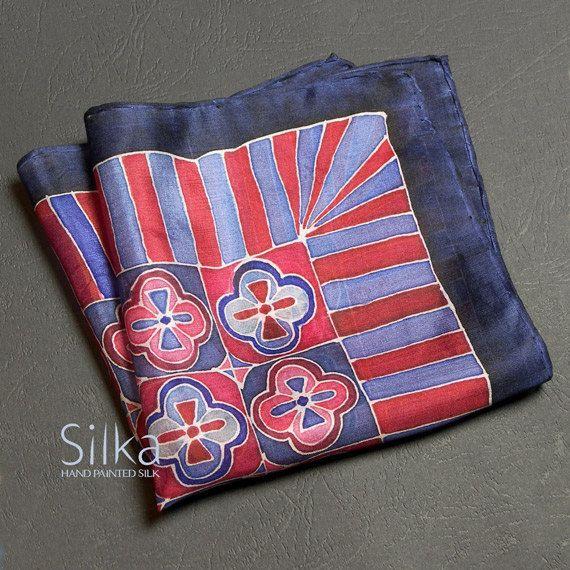 Silk pocket square hand painted silk pocket square  by SilkaShop