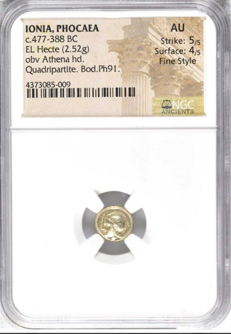 Item specifics     Coin Type:   Ancient   Certification:   NGC     Composition:   Gold      Ionia Phocaea El Hecte Athena NGC AU 5/4 Fine Style Ancient Gold Coin  Price : $998.00  Ends on : 4 weeks Order Now