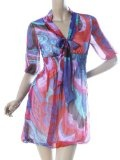 Ever Pretty Sexy V-neck Bow Chiffon 1/2 Sleeve Floral Print Casual Dress 03352