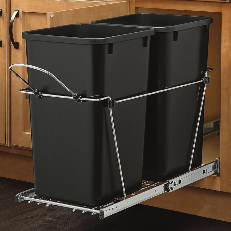 Features: -Removable handle. -Includes simple (4) screw. -Optional door mount kit available. -100 lbs Rated full-extension ball-bearing slides. -Accommodates two containers. -Can Capacity: Holds