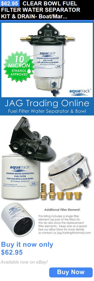 boat parts: Clear Bowl Fuel Filter Water Separator Kit And Drain- Boat/Marine/Outboard/Inboard BUY IT NOW ONLY: $62.95