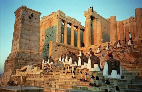 greek soldiers in skirts handmade in greece silver rings acropolis march