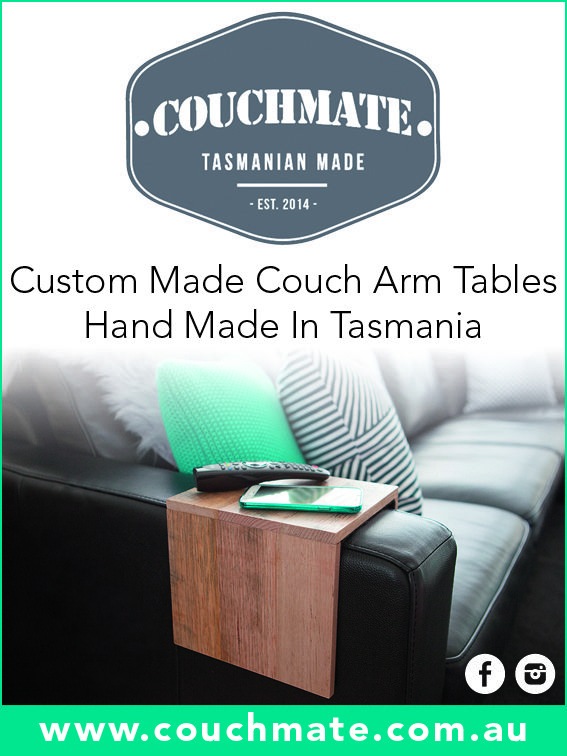 """The """"Upcycled Tasmanian Oak"""" Couchmate. Made from Upcycled Tasmanian Oak and finished with varnish and lined with felt. Hinged for convenience and made to order for both square and round arm couches. So convenient and a great space saver. The Upcycled Tasmanian Oak couchmate is an excellent inexpensive alternative to a bulky coffee table at only $49.95 ! **The Upcycled Couchmate is available in 10 different stains to match your decor**"""