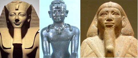 The fall of Egypt in pictures. Left, the white Egyptian Pharaoh Tuthmosis III, circa 1450 BC. Center, the black Nubian Pharaoh Shabako, circa 710 BC., and right, the last Nubian pharaoh Taharka, who ruled Egypt from 690 to 664 BC. He was the son of Piye, the Nubian king who had conquered Egypt in 760 BC. The last white Egyptians had vanished prior to 800 BC, physically integrated into the mass of Nubian and Semitic peoples who had come to dominate that land.: White Egyptian, Circa 1450, Nubian Pharaoh, Pharaoh Tuthmosi, Black Nubian, Egyptian Pharaoh, Ancient Egypt, 1450 Bc, Ancient Daily