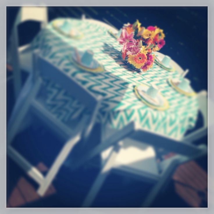 Tables with Chevron Linen and Tropical Florals - Private Pool Party 2014