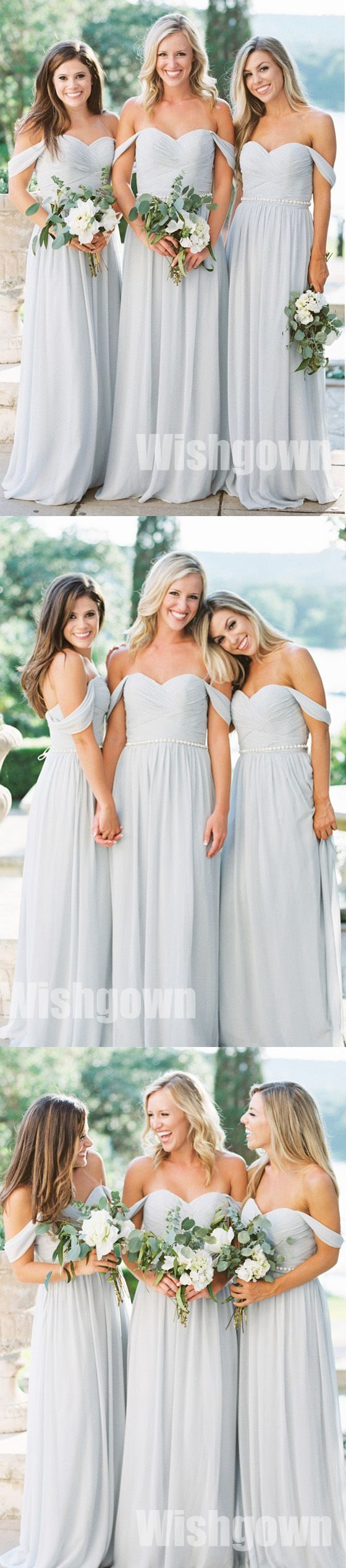 Charming Off the Shoulder Sweetheart Chiffon Long Cheap Bridesmaid Dresses, WG463 #bridesmaids #wedding #weddingpartydress