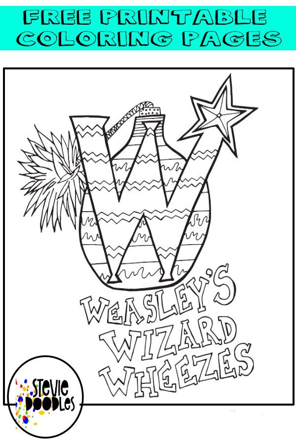 Weasley Wizarding Wheezes Free Printable Coloring Page Stevie Doodles Harry Potter Coloring Pages Harry Potter Coloring Book Free Coloring Pages