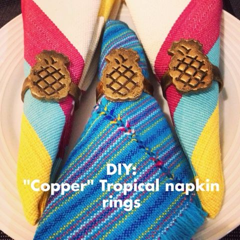 """Dissocupied Tany : DIY:""""Copper"""" Tropical Napkin rings"""