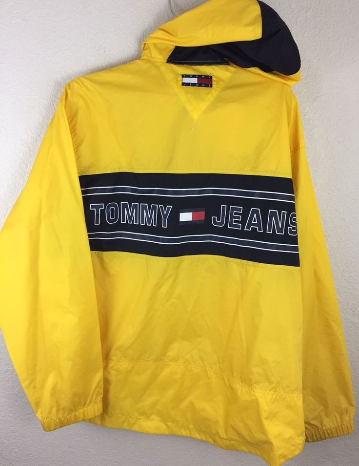 VINTAGE 90's TOMMY HILFIGER JEANS USA FLAG COLOR BLOCK LOGO PULLOVER JACKET SZ M | Clothing, Shoes & Accessories, Men's Clothing, Coats & Jackets | eBay!