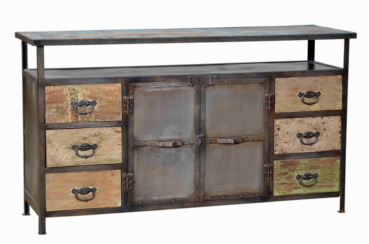 Vintage Industrial Sideboard with Reclaimed Teak Wood