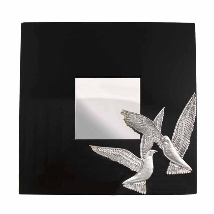 Mirror with two doves, desinged and engraved by the artist El Phil (Eleftherios A. Philippakis), on plaster to create the prototype mould.  Dimensions: 25 cm x 25 cm x 1 cm  Silver-plated design on wooden mirror.