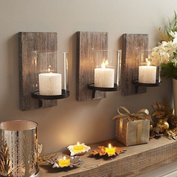 Candles and Barn wood...simple.