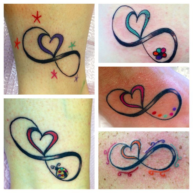 Friendship tattoo. Each color represents a friend who got the same tattoo with that color heart.