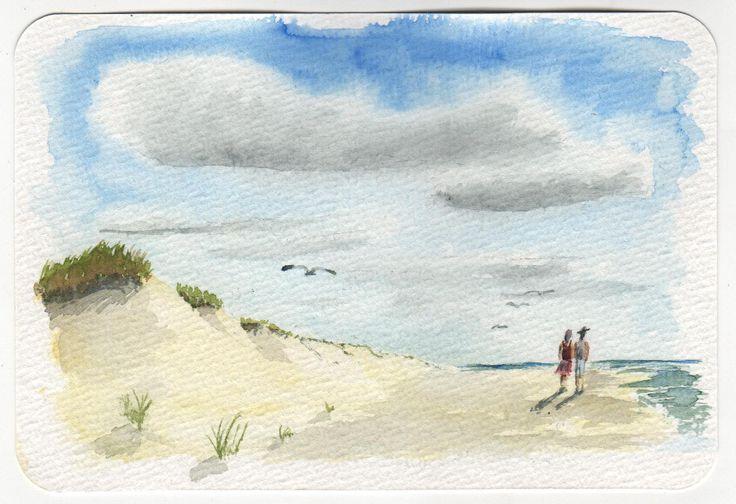 Aquarellpostkarte. Schmincke-Aquarellfarben auf Hahnemühle-Aquarellpostkarten.
