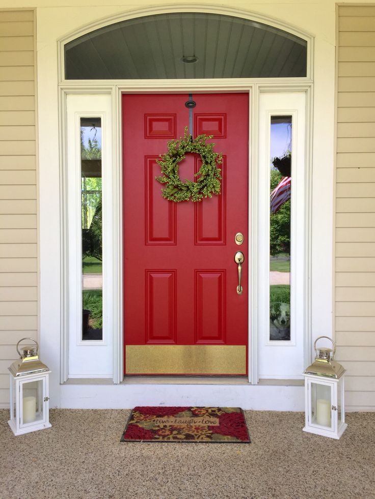 My farmhouse door painted from tan to red paint color Front door paint benjamin moore