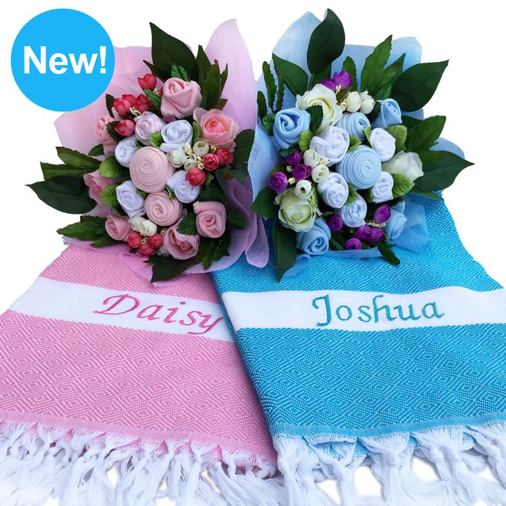 Personalize a baby gift with a baby name blanket! http://www.dottybee.net/products/Personalize-it%21-A-Bouquet-%26-Baby-Name-Blanket.html