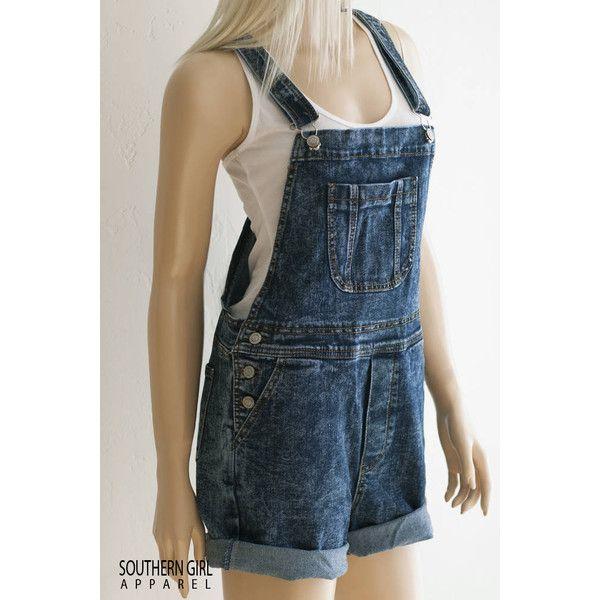 Women's Denim Bib Overall Shorts Denim Overalls Music Festival... ($39) ❤ liked on Polyvore featuring shorts, grey, women's clothing, cutoff jean shorts, denim shorts, short overalls, bib overalls shorts and jean short overalls