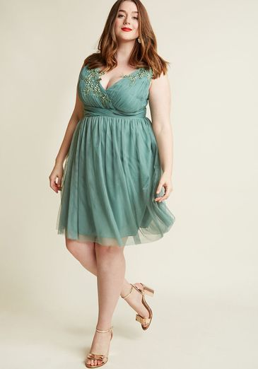 6c924f0e9b7 flowing summer cocktail dress that looks gorgeous on curvy women or women  with large busts. Love this dress! Adrift on Elegance A-Line Dress in Sage
