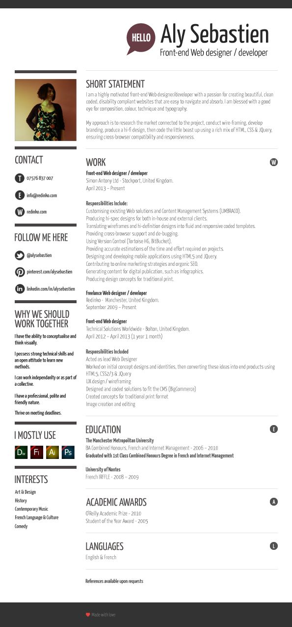 aly sebastien cv front end web developer