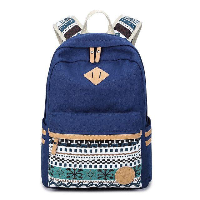 XQXA Vintage Backpack Women Laptop Bag Canvas Printing School Bags for  Teenagers Girls Rucksack Mochila Feminina Escolar Item Type:  BackpacksGender: ...