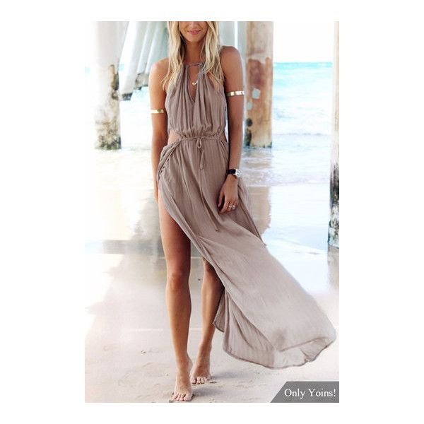 Yoins Bohemia Sleeveless Back Lace-up Side Split Beach Maxi Dress ($19) ❤ liked on Polyvore featuring dresses, lace up back maxi dress, beach style dresses, no sleeve dress, cut out dresses and brown maxi dress
