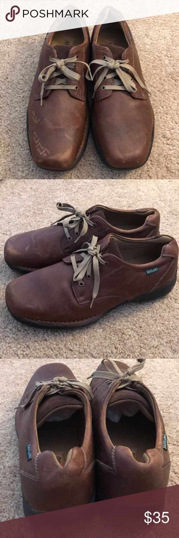 Eastland men's shoes Eastland men's shoes leather color brown has minor scratch but in great condition overall - size 13 wide Eastland Shoes Oxfords & Derbys