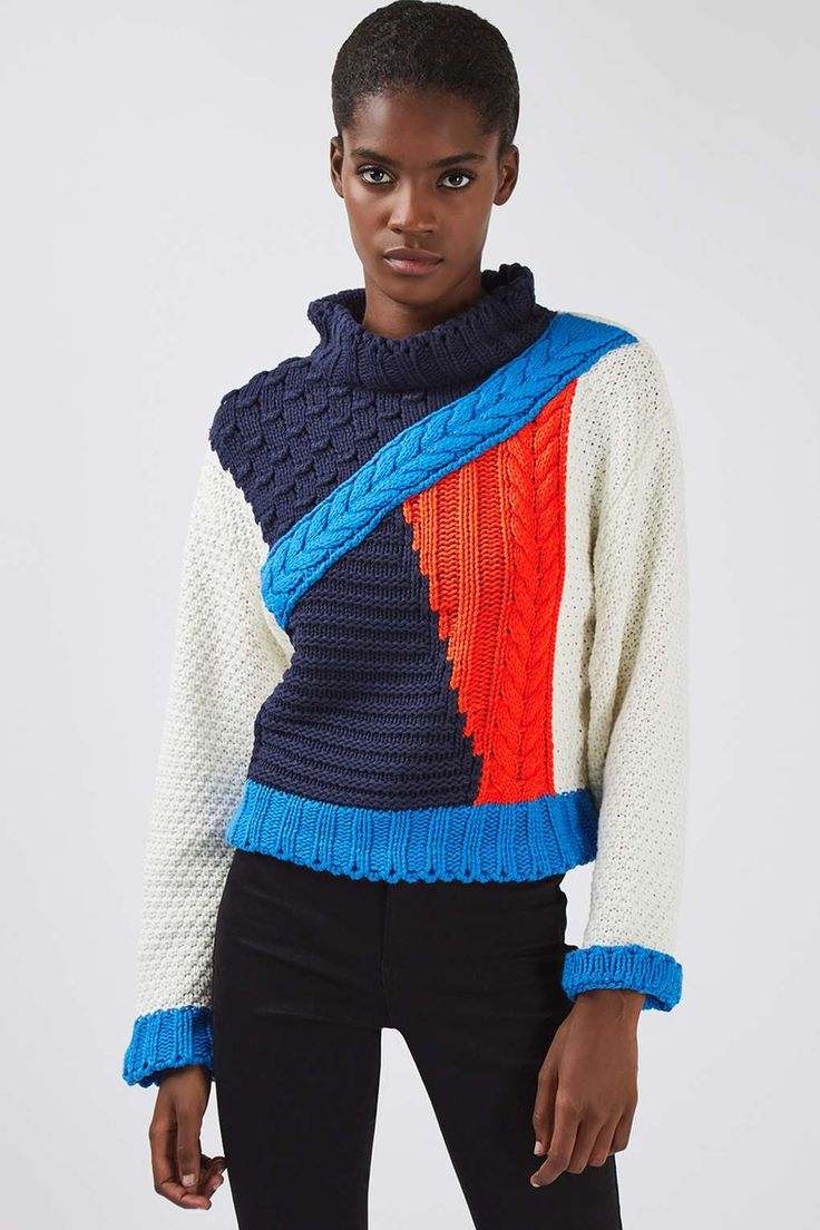 **Cropped Colour Block Knitted Jumper by Glamorous - Knitwear - Clothing - Topshop
