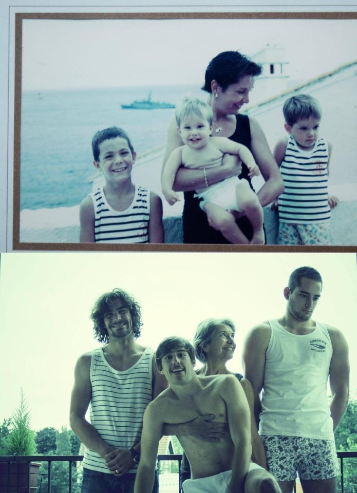 Mom and her three boys decide to take the same photo 20 years later, for their father's birthday present. That is so adorably hilarious.