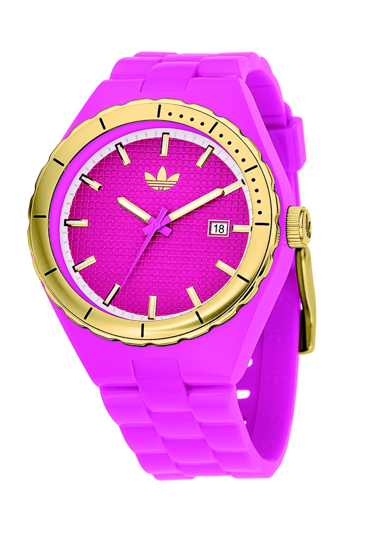 Adidas watch in purple and gold