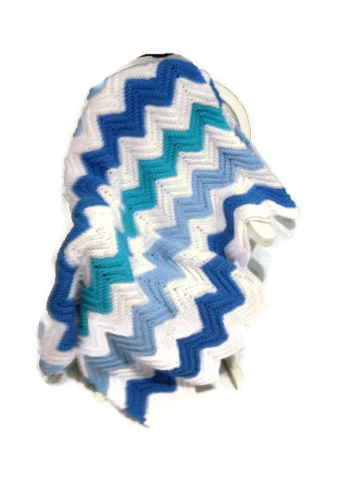 Crochet Chevron Crib Blanket Afghan In Shades of Blue and White Hand Crocheted Afghan/Lap Afghan