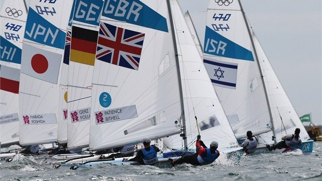 Luke Patience and Stuart Bithell of Great Britain compete in the men's 470 Sailing