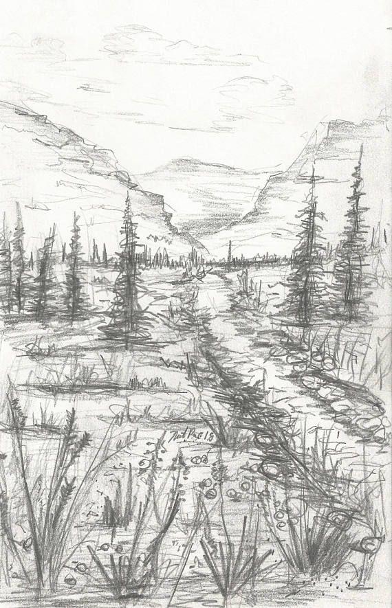 Landscape Pencil Drawing Instant Download Artwork Mountain Landscape Pencil Drawings Landscape Drawings Mountain Landscape Drawing
