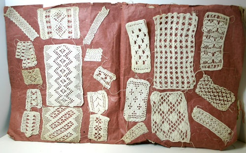 Antique HomeMade Cotton Crochet Pattern Sample Book from Germany Europe 62 Piece | eBay