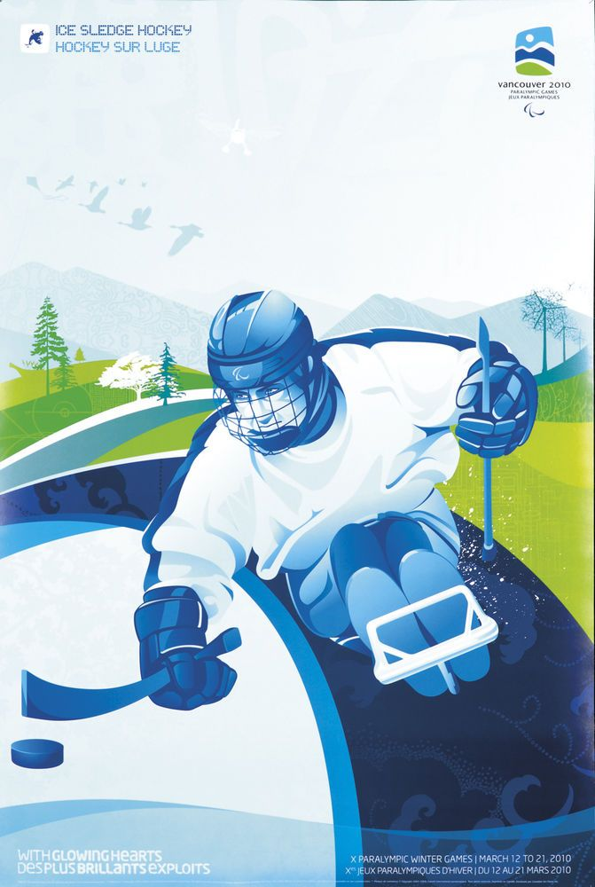 This is the ORIGINAL FIRST PRINTING of this poster. It was used to promote the 2010 Winter Paralympics in Vancouver, Canada. Shown is an ice sledge hockey player. It is in A condition (please note that standard A condition allows for minor handling wear at edges) and measures 18 x 27 inches. Note: This is NOT a reproduction. We ONLY sell original first printings of posters. Having been in the vintage poster business for over 40 years, we GUARANTEE the authenticity of all of our posters…