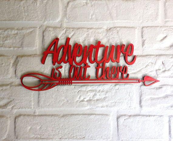 Avontuur is daar muur teken - houten wand decor - pijlen wand decor - hout teken - houten borden - citaten over hout - pijl teken