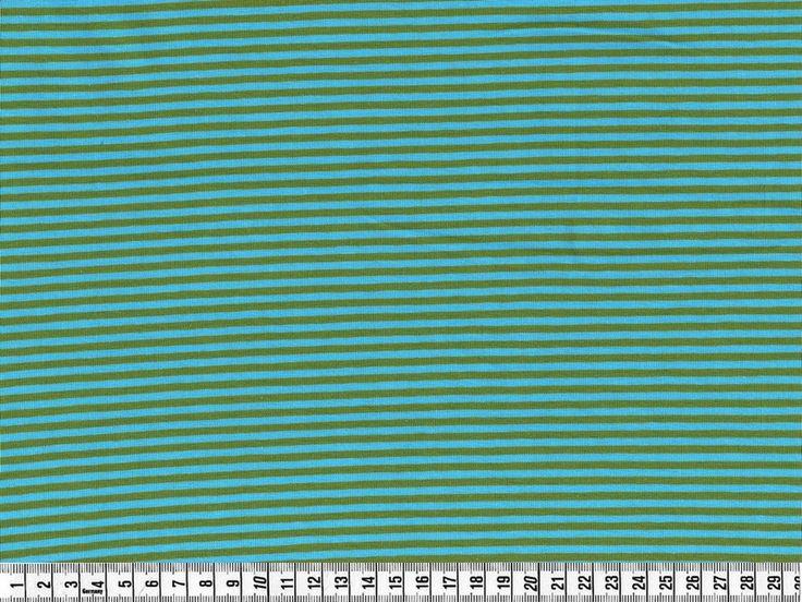 Stof - Stræk jersey; Smalle striber, aqua/oliven, pr. 0,25 m. - STOF og STUFF - kreativ livsstil | Stof, metervarer og tekstiler.