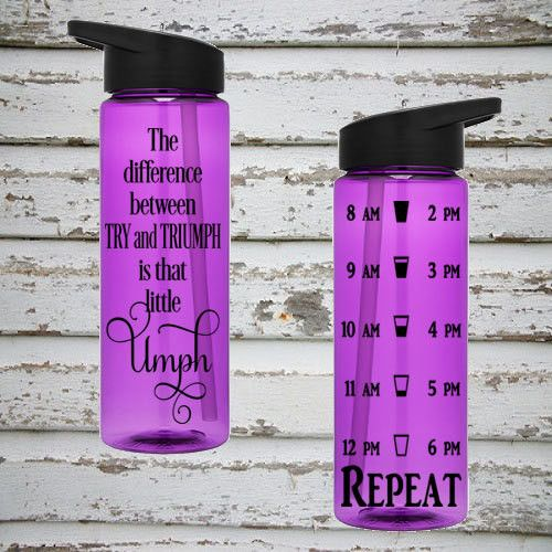 The Difference Between Try & Triumph Is That Little Umph 24oz Water Intake Tracker. Gym Water Bottle. Personalized Water Bottle. Reminders.