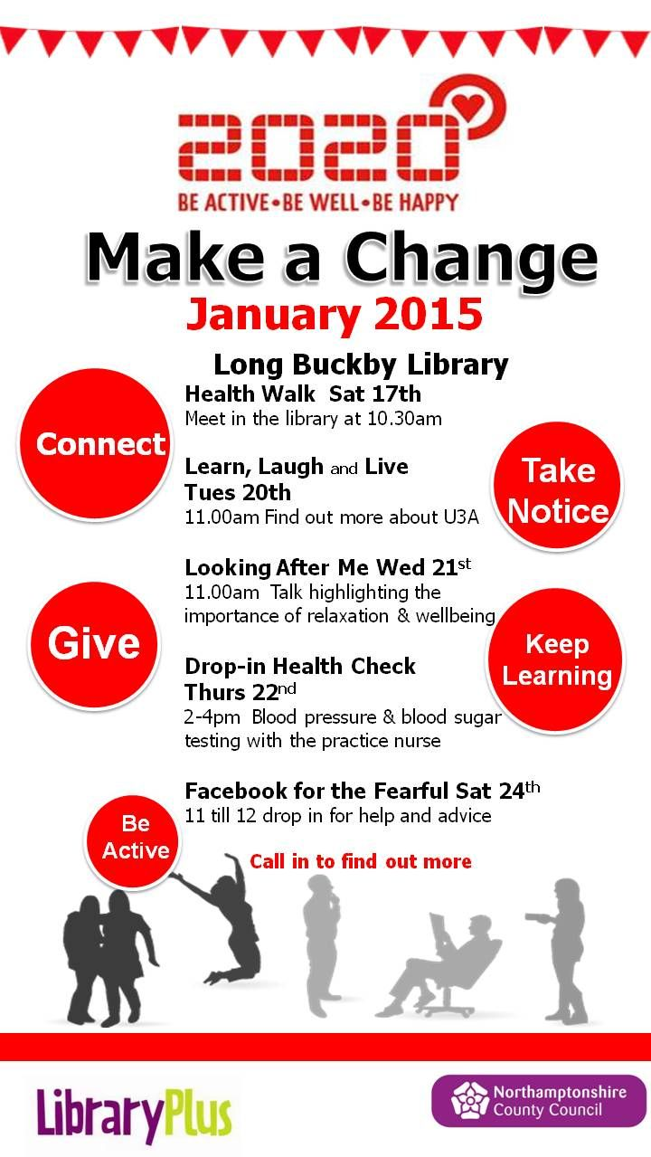 #MakeaChange - Health and Wellbeing events at Long Buckby Library.