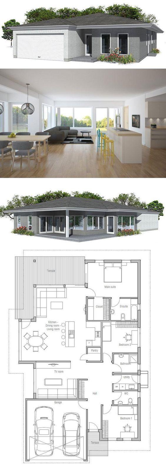 17 melhores imagens sobre planos casa 150 mts no for Hausplan modern