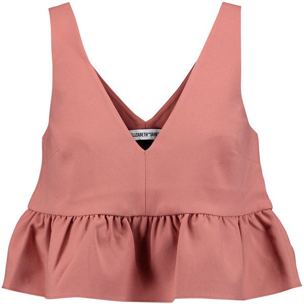Elizabeth and James Analinne cady peplum top (€53) ❤ liked on Polyvore featuring tops, shirts, crop tops, pink, coral, crop top, peplum crop top, red shirt, red peplum shirt and peplum shirt