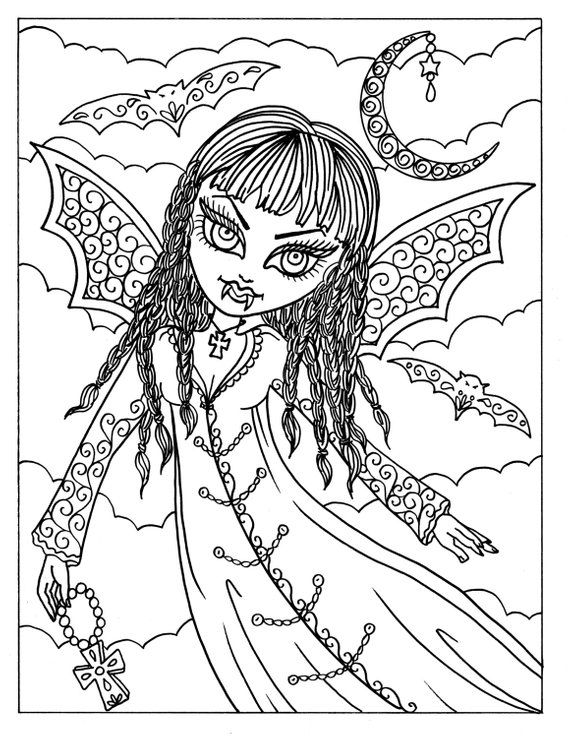 5 Pages Vampire Vixens To Color Instant Download Print And Color Coloring Pages H Mermaid Coloring Pages Halloween Coloring Pages Printable Cute Coloring Pages