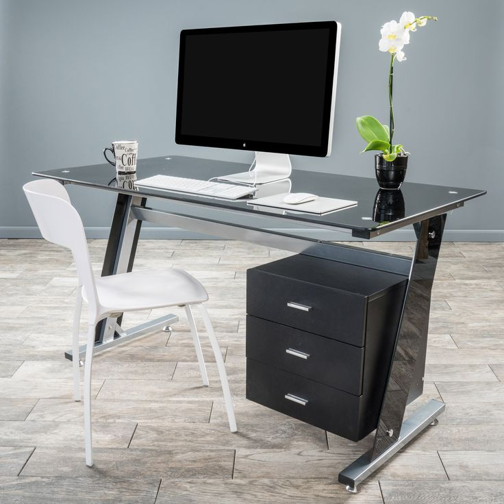 Genesis Black Glass Computer Desk & Cabinet Drawers