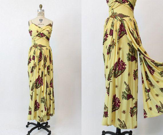 40s Emma Domb Dress Medium Large / 1940s Vintage by CrushVintage