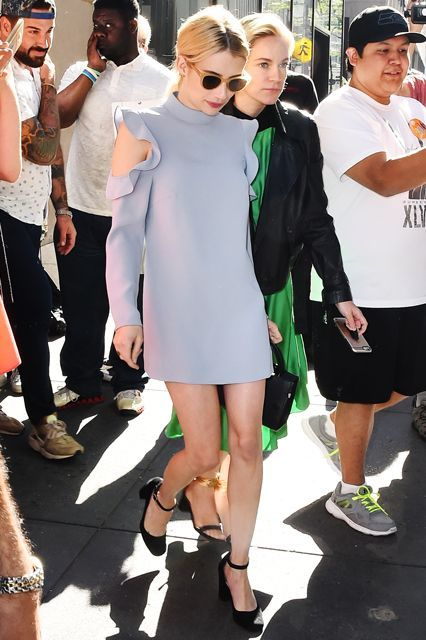 Emma Roberts Cut Out Sleeve Dress Ruffles Trend