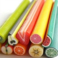miniatures, polymer clay, caning, how to: orange, kiwi, strawberry canes