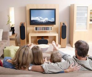 family watching tv together | ... quality time together one in six families now owns five televisions ... Maybe catch a movie or a show together #FamilyFun