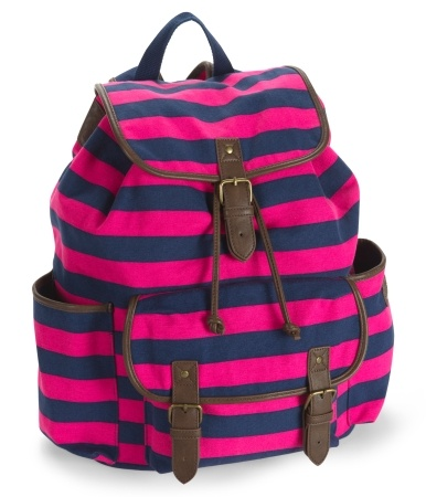 Striped Buckle Backpack