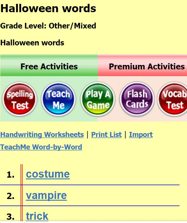 halloween vocabulary list with pictures