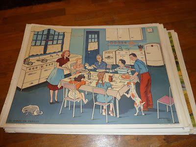 Ancienne affiche carte scolaire elocution la cuisine a table dejeuner petit 1 - Carte murale scolaire ancienne ...
