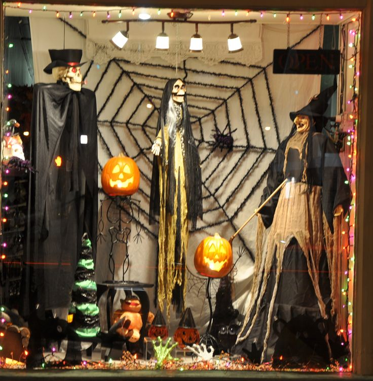 25 best ideas about halloween window display on pinterest for Store window decorations